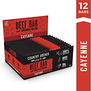Cayenne Beef Bar with Uncured Bacon by Country Archer | 100% Grass-Fed | Beef Collagen | Certified Paleo, Gluten Free | 1.5 Ounce (12 count)