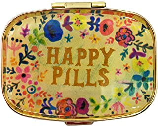 AmyZone Metal Pill Organizer Travel Friendly Portable Compact Pill Box Pill Case to Hold Vitamins/Tylenol/Fish Oil/Supplements/Meds/Tablet for Purse/Pocket(Happy Pills)