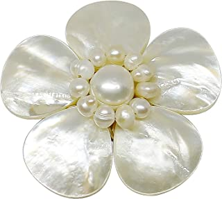 Bijoux De Ja Mother of Pearl and White Pollen Shell Pearl Flower Brooch Pin
