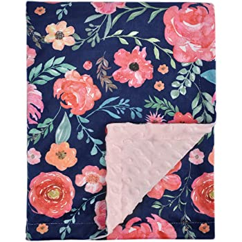 Baby Blanket for Girls Super Soft Double Layer Minky with Dotted Backing, Elegant Receiving Blanket with Pink Floral Multicolor Printed Blanket 30 x 40 Inch(75x100cm), Navy Blue