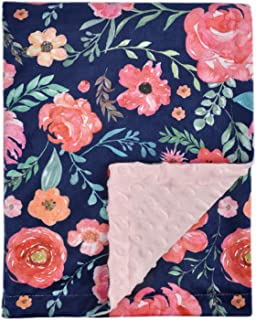 Baby Blanket for Girls Super Soft Double Layer Minky with Dotted Backing, Elegant Receiving Blanket with Pink Floral Multi...