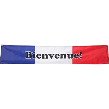 Amazon Com French Welcome Banner For French Classrooms Restaurants Bilingual Businesses Special Events Flag Of France Blue White Red Background Polyester 10 X 60 Inches Office Products
