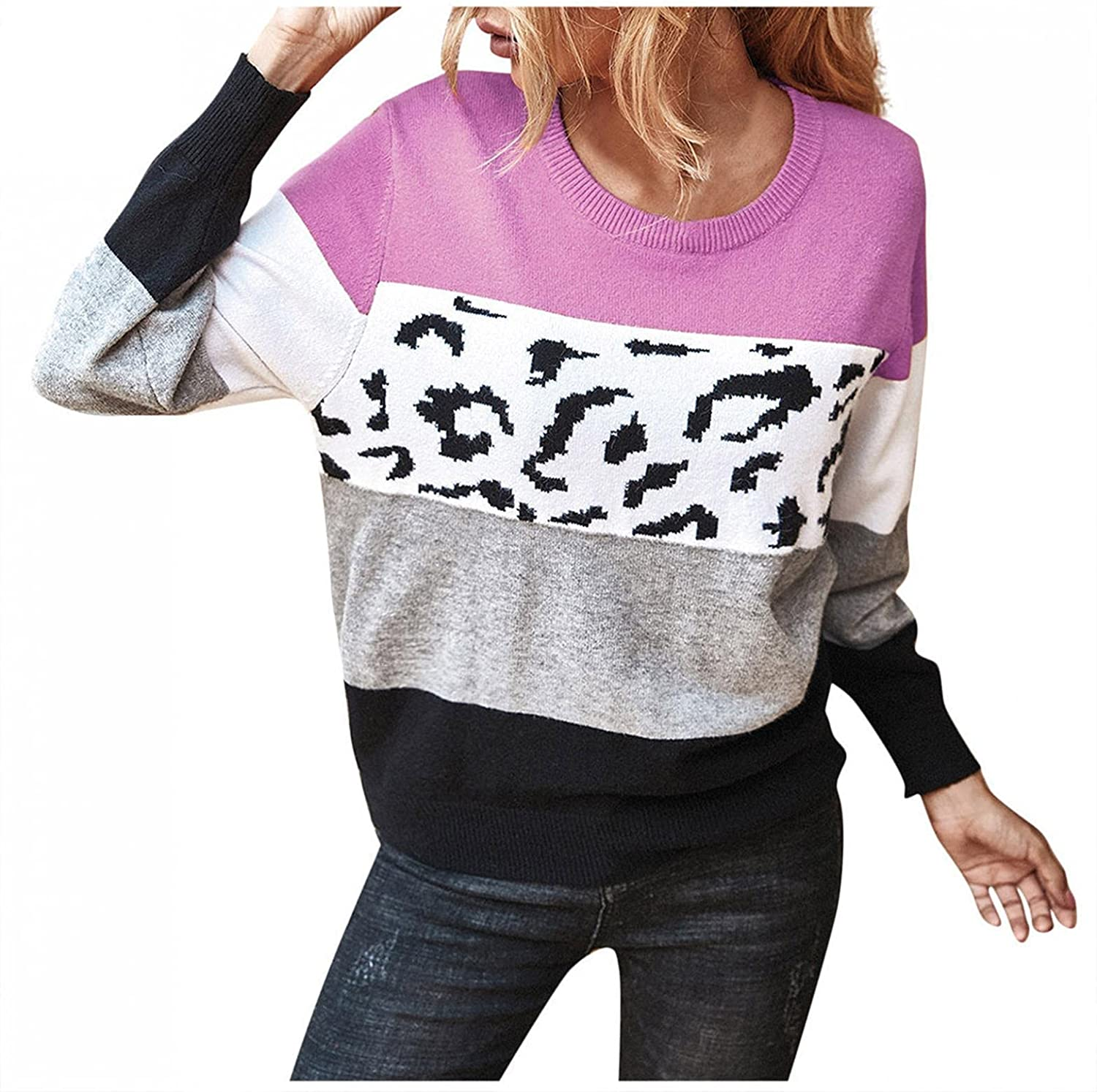 Pullover Sweaters for Women Long Sleeve Blouse Crewneck Tops Contrasting Colors Tunic Tops