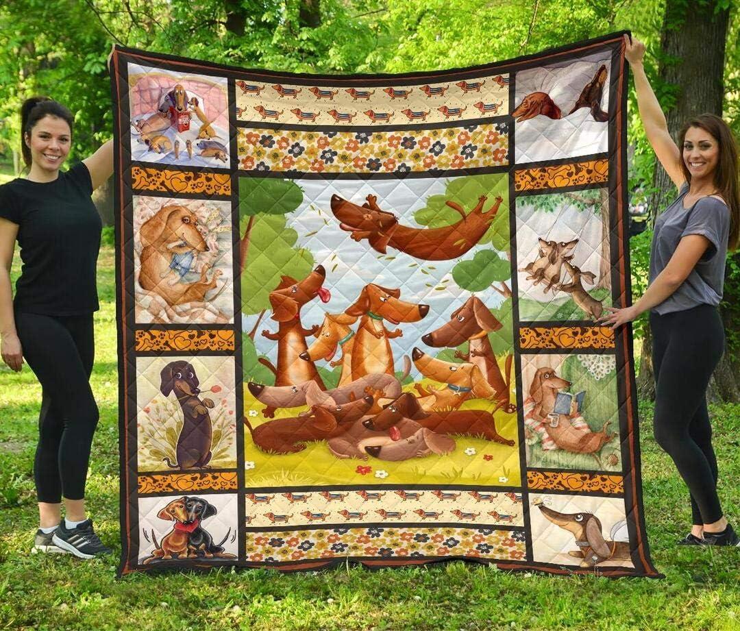 Personalized Dachshund Quilt Halloween Max 54% OFF - Li Bedspread Overseas parallel import regular item Decorative