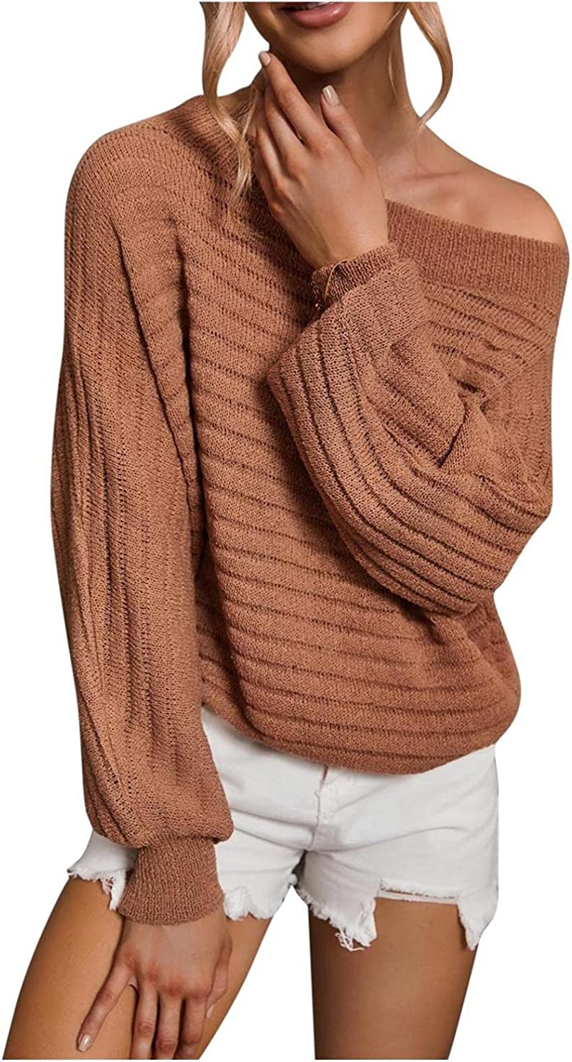 Xinantime Women's Knitwear Sweater Off Shoulder Loose Blouse Ladies Oversized Striped Knitted Shirt Solid Color