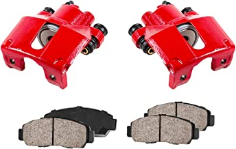 CCK12259 [2] REAR Performance Loaded Powder Coated Red Caliper Assembly + Quiet Low Dust Ceramic Brake Pads