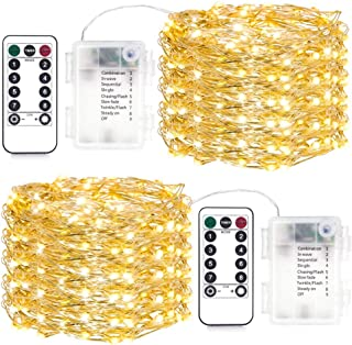 LED String Lights 16.4ft with 50 LEDs (Silver Wire Copper Lights, Warm White), Waterproof Outdoor & Indoor Decorative Ligh...