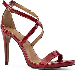 RF ROOM OF FASHION Open Toe Criss Cross Ankle Strap Stiletto Heel Dress Sandal Pumps