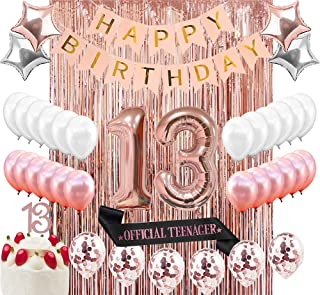 Sllyfo 13th Birthday Decorations Party Supplies Kit - 13th Birthday Gifts for Girls,13th Cake Topper Banner sash Rose Gold Curtain Backdrop Props Confetti Balloons Champagne Balloon. (13) (13)