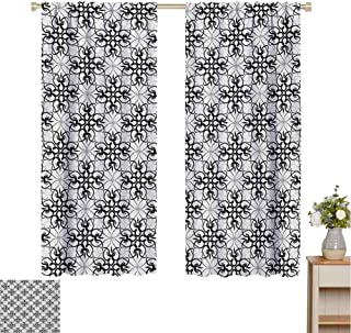 Mozenou Floral, Thermal Insulating Blackout Curtain, Victorian Lace Flower Pattern Curved Blooms Lines Vintage Work of Art Print, Blackout Draperies for Bedroom Black Pale Grey