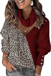 BDCUYAHSKL Herfst en winter casual mode dames V-hals effen kleur stiksels luipaard print hit kleur lange mouwen trui losse...