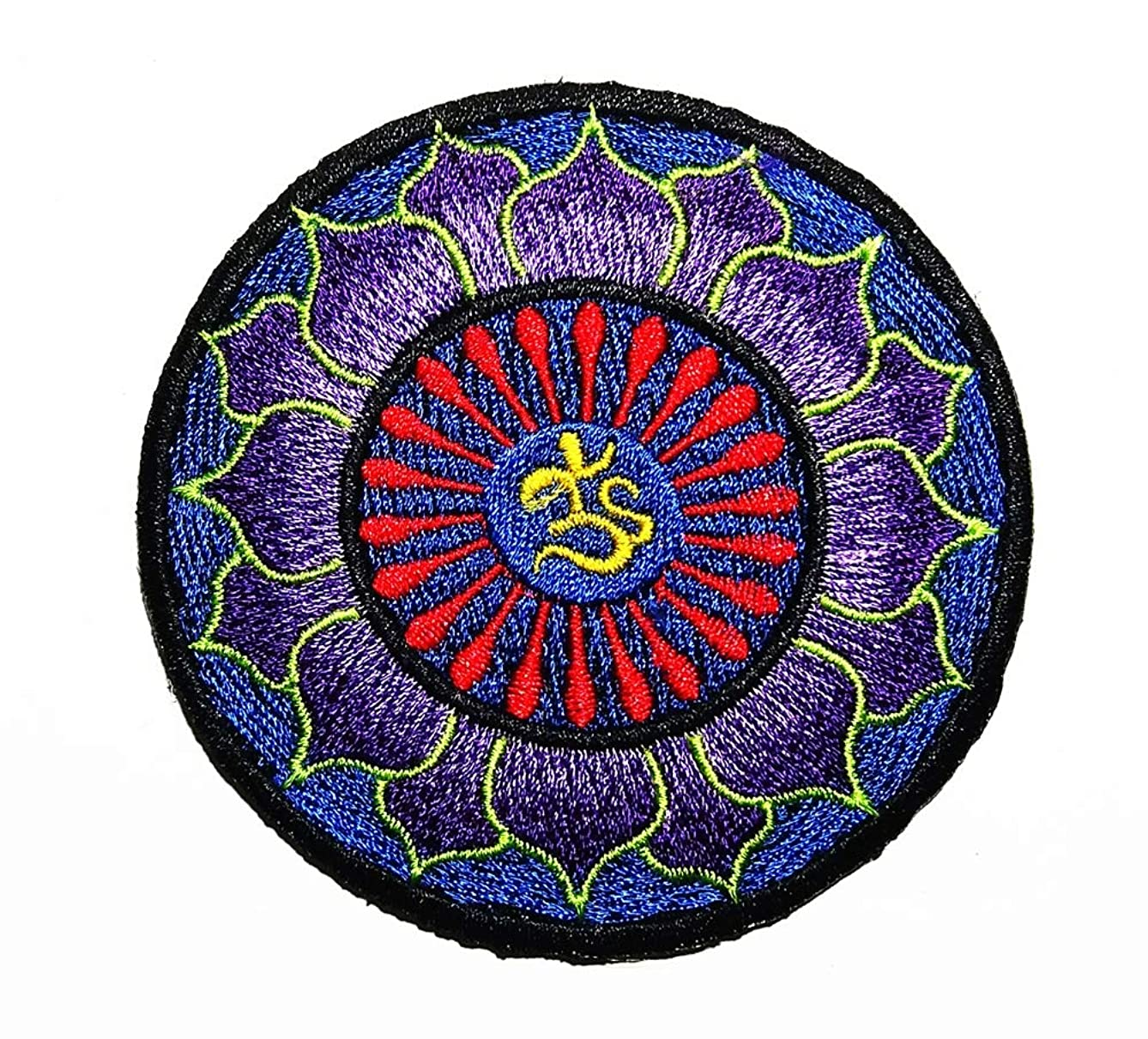 Art Pattern Search Page Hindu Hinduism Lotus Flower Buddha Spiritual Symbol Patch Embroidered Sew Iron On Patches Badge Bags Hat Jeans Shoes T-Shirt Applique
