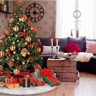 DegGod Christmas Tree Plush Skirts, White Pure Faux Fur Xmas Tree Skirt Mat Christmas Home Party Decorations Ornaments (35.4inches/90cm)
