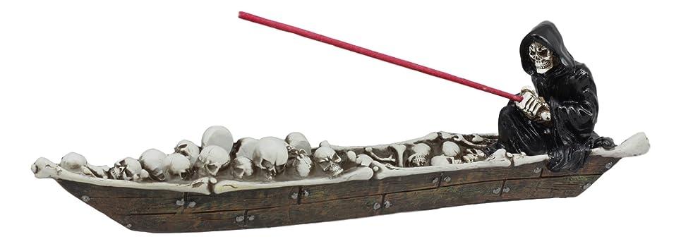 気分が良い希少性しわ死神Charonのスケルトンのスカルのボート釣りSoulsメンズStyx川で香炉置物