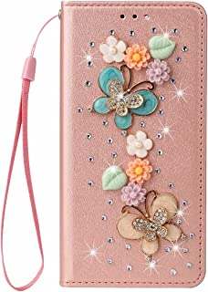 Nadoli Wallet Case with Diamond for Samsung Galaxy A02,3D Handmade Floral Butterfly Silk Pattern Shiny Glitter Bling Pu Le...