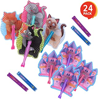 ArtCreativity 10 Inch Handheld Folding Fans for Kids - Set of 24 - Includes 12 Kitten and 12 Princess Castle Folding Fans - Colorful Foldable Paper Fan - Fun Birthday Party Favor - Outdoor Summer Toys