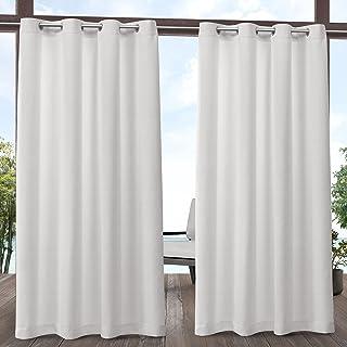 Exclusive Home Aztec Indoor/Outdoor Grommet Top Curtain Panel Pair, White, 54x84, 2 Piece