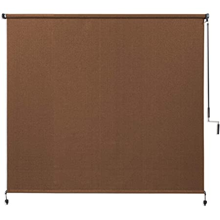 Coolaroo Exterior Roller Shade, Cordless Roller Shade with 90% UV Protection, No Valance, (6' W X 6' L), Mocha