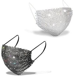 Sparkly Rhinestone Mesh Face Mask,Masquerade Decorative Mask for Women,Bling Glitter Face Mask for Valentine's Day Party