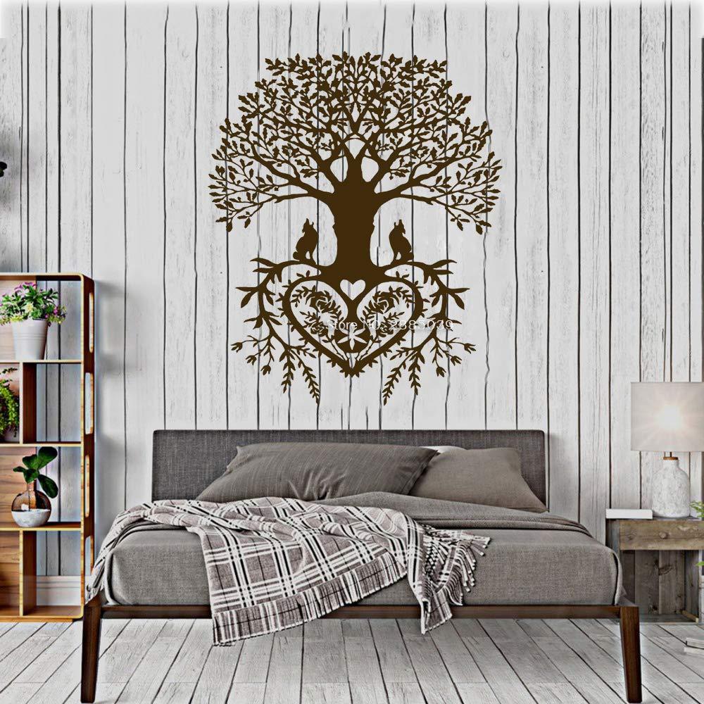 YuanMinglu Árbol de la Vida Etiqueta de la Pared Apliques Tribales Círculo de la Vida Raíz Pájaro Rama Habitación Yoga Estudio Decoración del hogar Decoración Marrón XL 110cm x 132cm: Amazon.es: Hogar