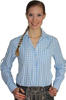 Edelnice Trachtenmode Klassisches Damen Trachtenhemd 3/4 Arm Farbe rot, hellblau oder lila Gr. 32-50