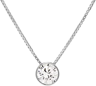 14K Solid White Gold Pendant Necklace | Bezel Set Round Cut Cubic Zirconia Solitaire | 1.5 Carat | 16 Inch 1.0mm Box Link Chain | With Gift Box