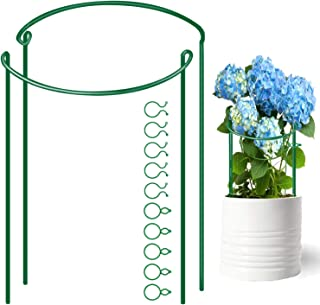HiGift 2 Pack Garden Plant Support Stakes, Half Round Metal Flower Support Plants for Garden, Plant Support Ring with Plant Clips Plant Cage for Rose Hydrangea Vine, 10