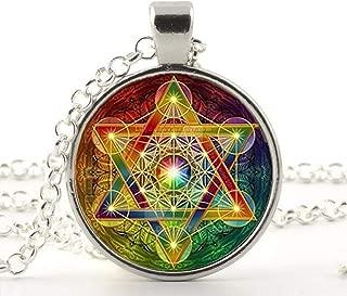 Metatron Cube Pendant Necklace Sacred Geometry Flower of Life Jewelry Chakra Spiritual Necklace Women Magic Hexagram