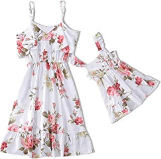 Yaffi Mommy and Me Dresses Floral Printed Ruffles Strappy Cami Matching Dress for Mother and Daughter