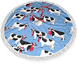 """WETG Festive Cows 30"""" Christmas Tree Skirt for Decor, New Year Festive Holiday Party Decoration"""