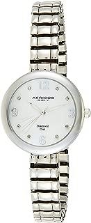 Akribos XXIV Women's Silver Classic Diamond Watch - White Mother of Pearl Dial - Stainless Steel Expandable Bracelet - AK765