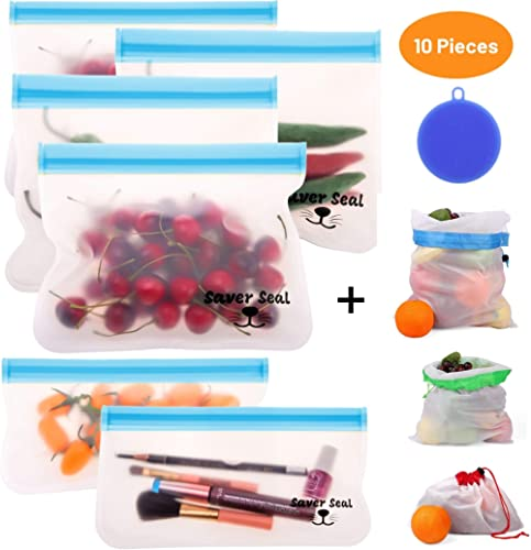 Saver Seal PREMIUM Reusable Storage Bags (6 Pack) + BONUS Produce Bags and Silicone Sponge   Ideal for Sandwich, Snac...
