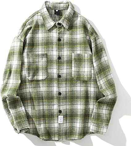 XZYP Vintage Hombres Franela Camisas A Cuadros Camisa Casual para Hombres De Lana para Hombre Camisas,Turquoise,M