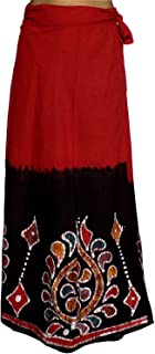 Indian Dresses Store Kheyali Boutique Women Cotton Wrap Around(KB-SK-BT-0004_Red and Black)