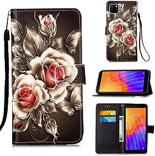 Miagon för Huawei Y5P plånboksfodral, PU-läder folio flip fodral med stativ kortspår magnetisk stängning, ros blomma