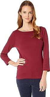 Three Dots Women's Essential British Neck 3/4 Sleeve Top Garnet X-Small