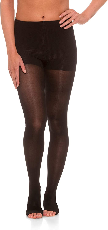 Jomi Compression Pantyhose Women Collection, 20-30mmHg Sheer Open Toe 245PO (X-Large, Black)