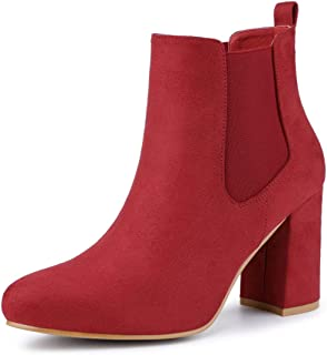 Women's Round Toe Chunky High Heels Ankle Chelsea Boots