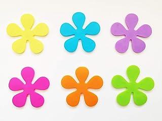 Papillon 10,5 cm Non-Antideslizante para bañeras Almohadillas con Ventosa Juego de diseño de Flores, Juego de 6, Amarillo/Morado/Rosa/Naranja/Verde/Azul