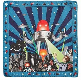 Simon Carter Mens Vintage Robot Pocket Square - Blue