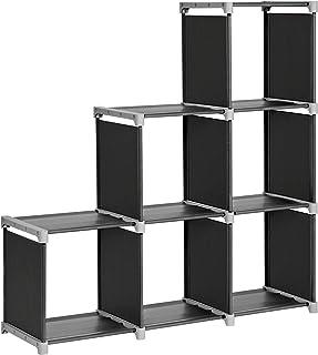 SONGMICS Librería de 6 Cubos Estantería de Escalera de Tela Armario de Almacenamiento Montaje Bricolaje para Salón Do...