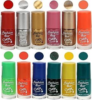 Fashion Bar gel Nail Polishes, Multicolour, 6ml(Set of 12)