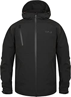 TIGER FORCE Windbreaker with Hoodie Men Casual Sporty Water Resistant Jacket Active Shell for Outdoor