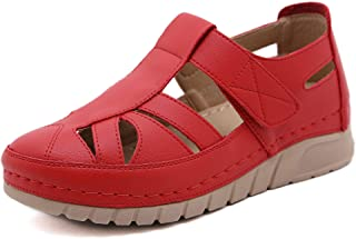 Sponsored Ad - ChayChax Womens Soft Leather Sandals Comfortable Flat Shoes Non-Slip Hollow Closed Toe Summer Sandals