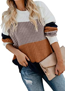 Elapsy Womens V Neck Long Sleeve Cotton Ripped Distressed Pullover Knitted Sweater