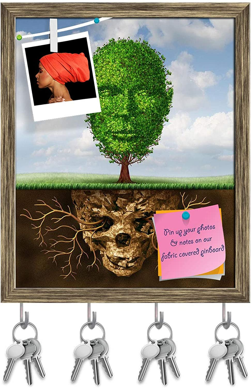 Artzfolio Rebirth & Renewal Lifestyle Concept Key Holder Hooks   Notice Pin Board   Antique golden Frame 16 X 19.5Inch