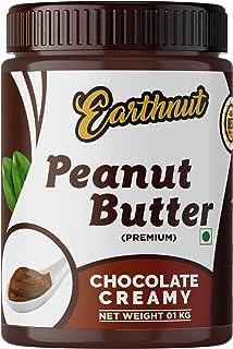 Earthnut Chocolate Peanut Butter Creamy 1Kg (Gluten Free / Non-GMO / Vegan) | Made with Roasted Peanuts, Cocoa Powder & Ch...