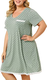 Agnes Orinda Women's Nightgown Plus Size Polka Dots Dress Short Sleeve Sleepwear Pajamas Nightgowns