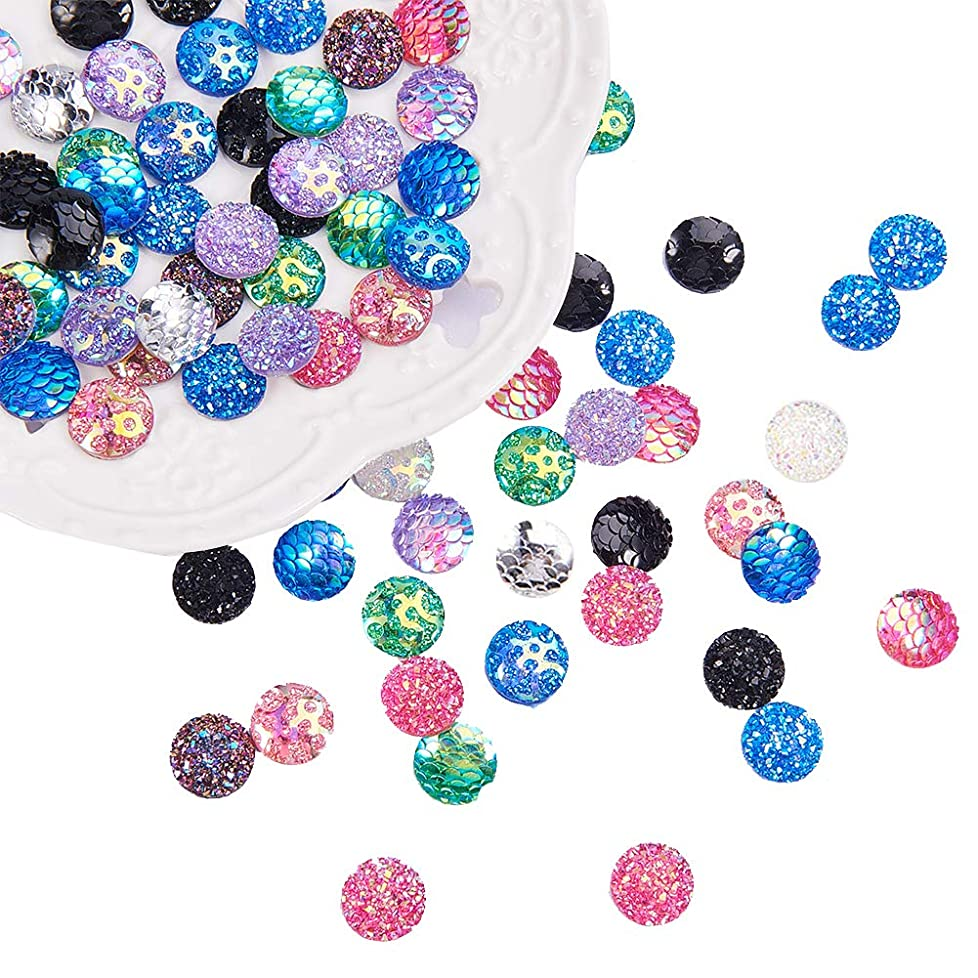 PH PandaHall 180pcs 18 Styles 12mm Flat Back Resin Cabochons Druzy Iridescent Mermaid Cabochons Flat Round Sparkly Glitter for Setting Bezel Tray Pendant Charms bqswwh693736387