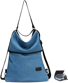 URAQT Canvas Rucksack Damen, Schultertasche Vintage, Multifunktionale Umhängetaschen, Casual Handtasche, Hobo Tasche für Alltag Büro Schule Ausflug Einkauf - Blau